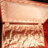 Cutie veche pt. lingurite din argint , lemn , carton, 34,1 x 19,8 x 3,7 cm