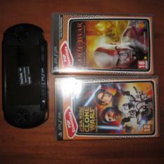 PSP Sony - Playstation portable+2Jocuri + card cu 3 jocuri