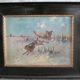 Scena de vanatoare cu iepure si vulpe, pictura veche pe panza - Pictor roman