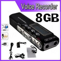 Camera spion, 8 GB - Reportofon Digital Profesional 8GB, 850 ORE inregistrare, Activare Vocala+CADOU!