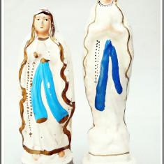 Arta Ceramica - AuX: LOT de 2 vechi STATUETE religioase catolice, ghips si pictate!