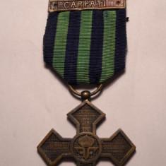 Crucea Comemorativa a primului Razboi Mondial 1916 1918 cu Baretele Carpati si JIU - Rara - Ordin