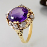 Inel aur 585 cu ametyst 3, 5crt si diamante 0, 30crt...REDUCERE!!!!, 57 - 67