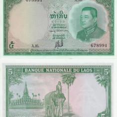 LAOS 5 kip ND 1962 AUNC+!!! - bancnota asia