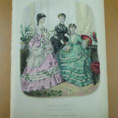 Revista moda - Moda costum rochie evantai oglinda gravura color La mode illustree Paris 1869
