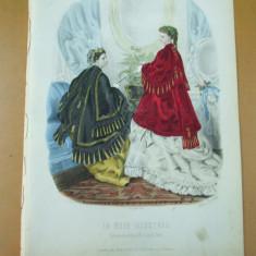 Revista moda - Moda costum rochie evantai gravura color La mode illustree Paris 1869