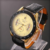 Ceas barbatesc Diesel, Casual, Mecanic-Automatic, Inox, Piele, Cronograf - Ceas Winner Tachymetre MILITAR ARMY DELUXE/FASHION EXCLUSIVE FULL AUTOMATIC GOLD! CALITATE GARANTATA! PESTE 2200 CALIFICATIVE POZITIVE!