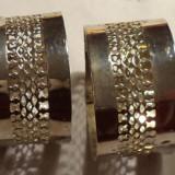 Metal/Fonta - 4 inele pentru servete din metal argintat