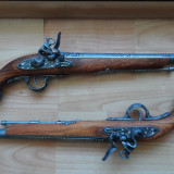 Pereche de pistoale de lupta, duel, replica de panoplie, sec.XVII-XVIII