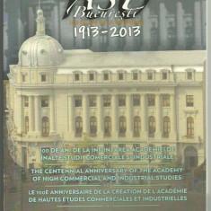 ROMANIA 1 LEU 2013, 100 ani infiintarea ASE Bucuresti, Tombac, certificat BNR - Moneda Romania