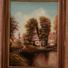 Tablou panza pictat in ulei 46cm/36cm cu rama din lemn - Tablou autor neidentificat, Portrete, Ulei, Art Nouveau