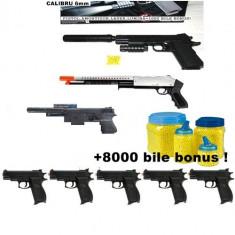 Arma Airsoft - Mega set airsoft compus din PISTOL MITRALIERA +TRANCAN+PUSCOCI+5 PISTOALE COLT MK4, 6mm+8000 bile BONUS!