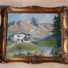 Tablou pictat in ulei pe panza cu munti 60cm/50cm cu semnatura anul 1956, An: 1956, Art Deco