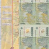 Bnk bn romania 10000 lei 2001 unc, coala de 4 netaiata, certificat autenticitate