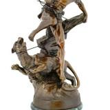 HERCULE CU LEUL DIN NEMEEA- STATUETA DIN BRONZ PE SOCLU DIN MARMURA - Sculptura, Religie