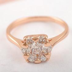 Oferta!inel filat cu aur 9K cu zirconiu!! - Inel placate cu aur