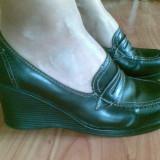 Pantofi dama, Marime: 38, Negru - Pantofi din piele cu platforma marimea 38, arata impecabil!