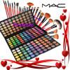 Trusa Machiaj Profesionala 180 Culori - MAC - Trusa Make-up Paleta de fard farduri + Set 24 pensule machiaj par natural + CADOU Set Decor unghii