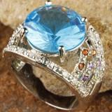 Inel din argint 925 placat cu aur si london blue topaz, marime 8