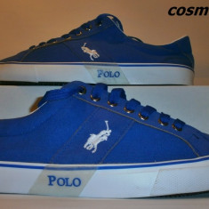 Tenisi POLO RALPH LAUREN Model din Panza - Albastru / Alb !!! - Tenisi barbati