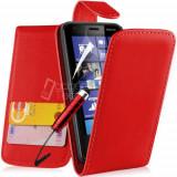 Toc piele rosie husa flip Nokia Lumia 620 + folie protectie ecran + expediere gratuita, Rosu, Piele Ecologica