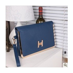 Plic dama albastru H - Geanta Dama Hermes, Geanta plic, Asemanator piele, Medie