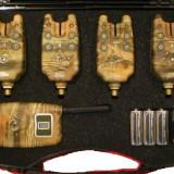 Set 4 avertizori / senzori Marca FL cu statie Model Camuflaj Cu Mufa Jack - Avertizor pescuit
