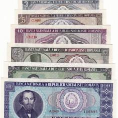 Bancnote Romanesti - Set complect - 1, 3, 5, 10, 25, 50, 100 lei 1966 aUNC - UNC ...RAR