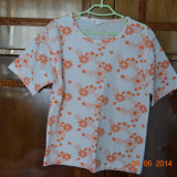 Pijama de vara alba cu flori portocalii