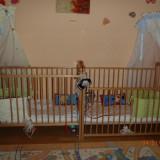 Patut lemn pentru bebelusi, Altele, 120x60cm, Altele - 2 Buc - Pat lemn fag - set complet