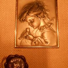Spectaculos si Vechi Tablou avand model splendid in rama si cu sigiliu ( ......Un cadou deosebit ) - Arta din Metal