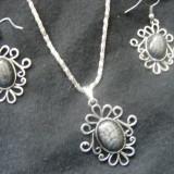 Set bijuterii argint - Set argint tibetan cu piatra gri jaguar
