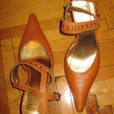 Pantofi decupati la spate masura 38 / varf ascutit, toc cui - Pantof dama Paul Green, Culoare: Orange