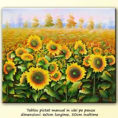 Lan cu floarea soarelui (3) - tablou ulei in cutit - 60x50cm, livrare gratuita 24-48h