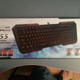 Tastatura Alta Natec Genesis RX55, produs nou, sigilat., Gaming, Cu fir, USB, Tastatura iluminata