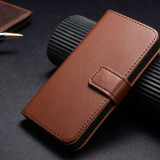 Husa piele IPhone 4 4S 5 5S tip portofel, maro + Folie ecran pentru 5 5S