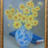 Flori galbene si carti - semnat R.Dubray '67 - Pictor strain
