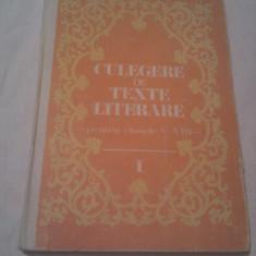 CULEGERE DE TEXTE LITERARE PENTRU CLASELE V-VIII DE VASILE TEODORESCU, EDITURA DIDACTICA 1983 - Teste admitere liceu