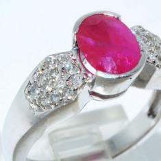 Superb inel aur alb 14K cu rubin si diamante naturale 1.60CT, 5.12gr ieftin, 46 - 56