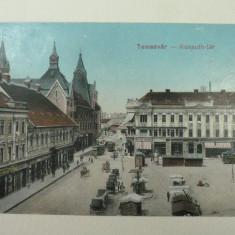 TIMISOARA - PIATA KOSSUTH - ANIMATIE SPECIFICA DE EPOCA - CARUTE - TRASURI - TRAMVAIE - INCEPUTUL ANILOR 1900 - Carte Postala Banat 1904-1918