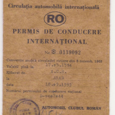 PERMIS DE CONDUCERE INTERNATIONAL ELIBERAT DE A.C.R. ARAD - Pasaport/Document, Romania de la 1950