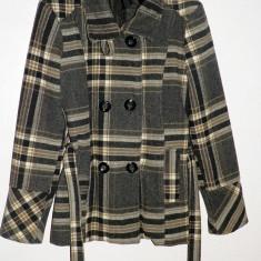 Palton dama, Negru, S, Lana - Palton de dama in carouri din lana 70% perfect pentru iarna, cu cordon pentru fixare perfecta pe corp