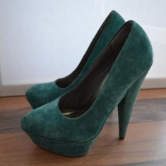 Pantofi ASOS dama, piele intoarsa naturala, turcoaz, nr. 38 - Pantof dama