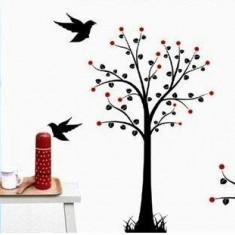 Sticker - autocolant decorativ pentru perete copac negru cu fructe rosii si pasari
