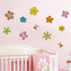 Sticker - autocolant decorativ pentru perete, model flori si fluturi camera copilului - Tapet