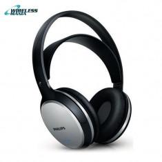 Casti Philips Wireless 2 canale, SHC5100/10, fara fir - negre cu banda sustinere, Casti Over Ear