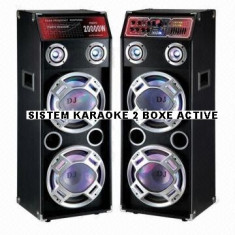 Echipament karaoke - SISTEM KARAOKE 2 BOXE ACTIVE, 4 BASSI, MIXER INCLUS, MP3 PLAYER STICK/CARD, 500 WATT P.M.P.O+2 MIC.WIRELESS!
