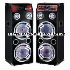 Echipament karaoke - SISTEM KARAOKE 2 BOXE ACTIVE, 4 BASSI, MIXER INCLUS, MP3 PLAYER STICK/CARD, 500 WATT P.M.P.O+2 MIC.WIRELESS!