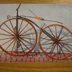 Carte postala tematica, Necirculata, Fotografie - CP - BICICLETA CU ROTI DIN LEMN ( sec XIX ) -- color - Necirculata