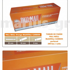 Foite tigari - 1.000 tuburi de tigari PALL MALL Multifiltru Orange pentru injectat tutun